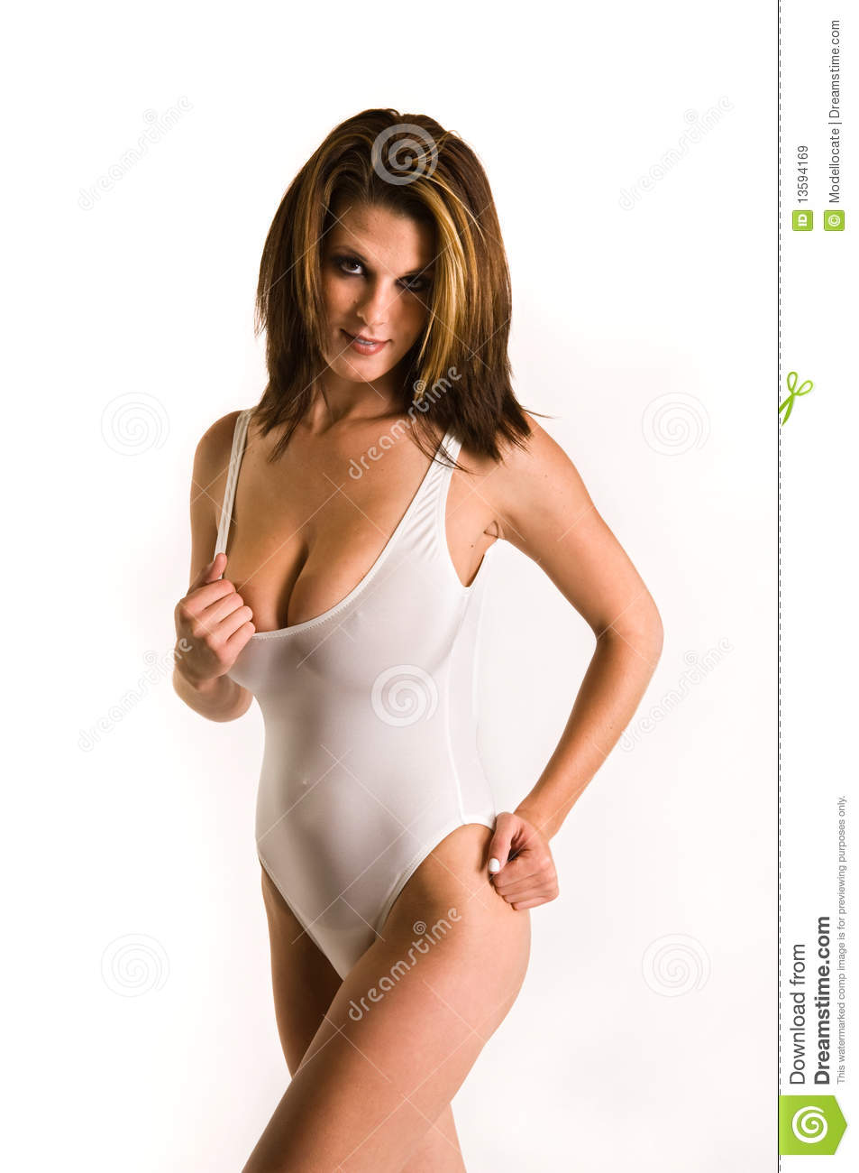 woman in sheer white swim suit stock image image of