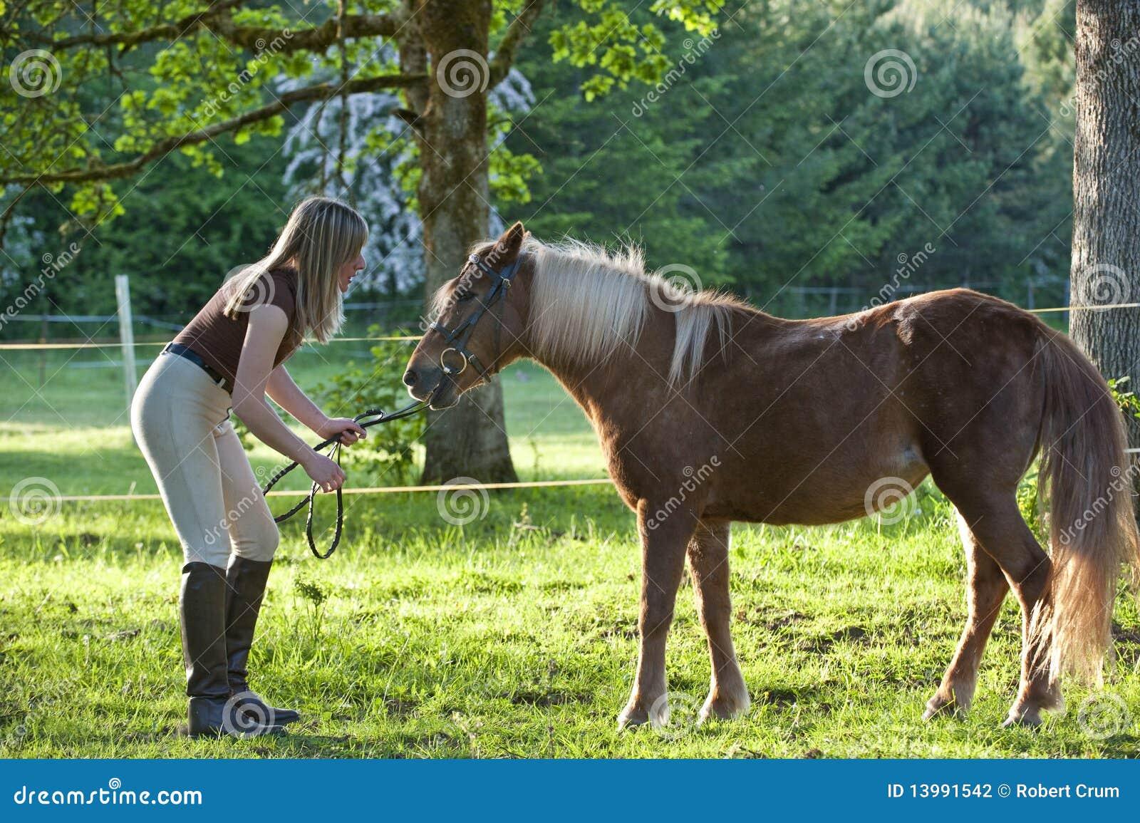 Woman And Shetland Pony Stock Photography Image 13991542