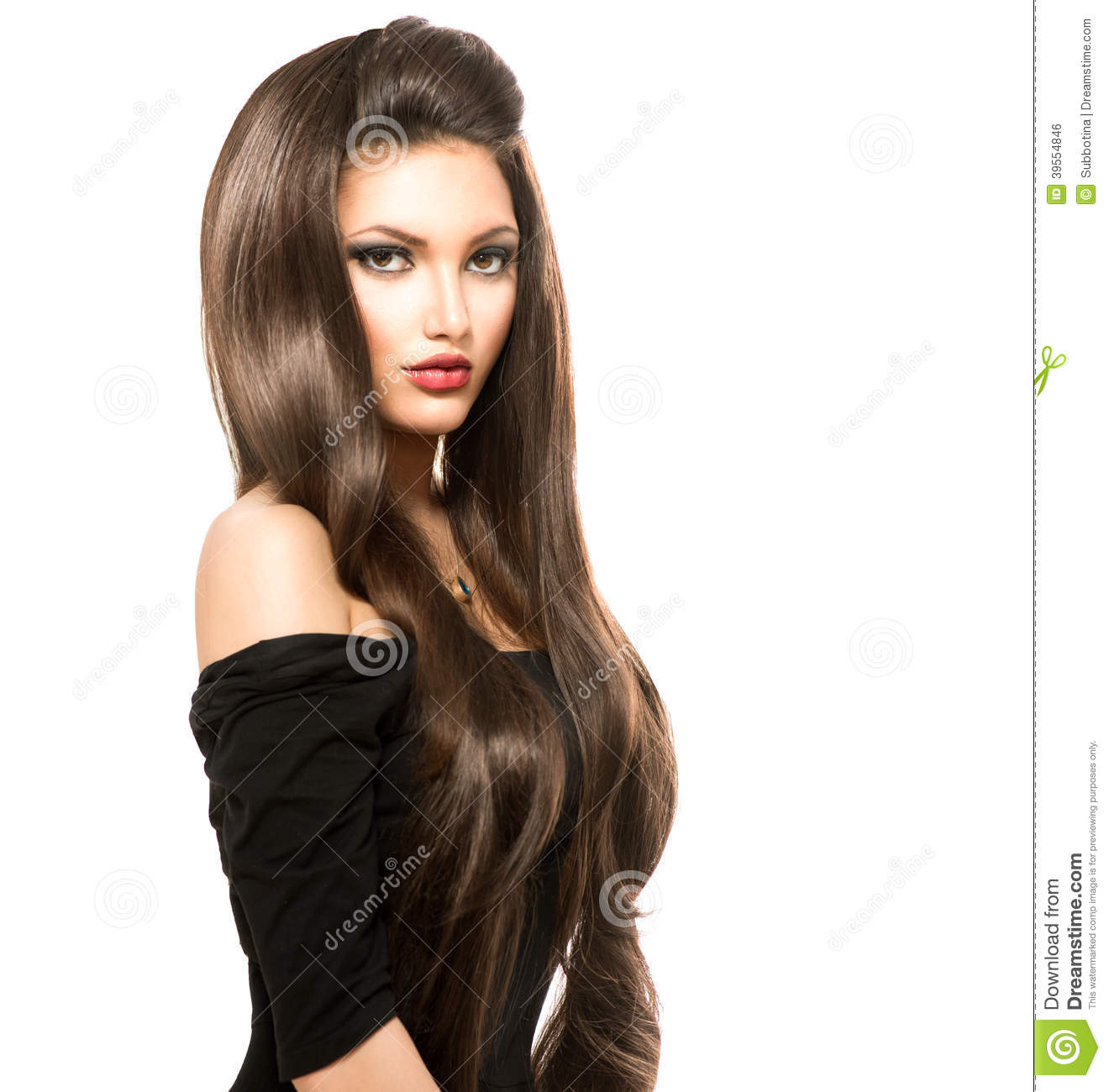 Woman With Shiny Smooth Brown Hair Stock Photo Image