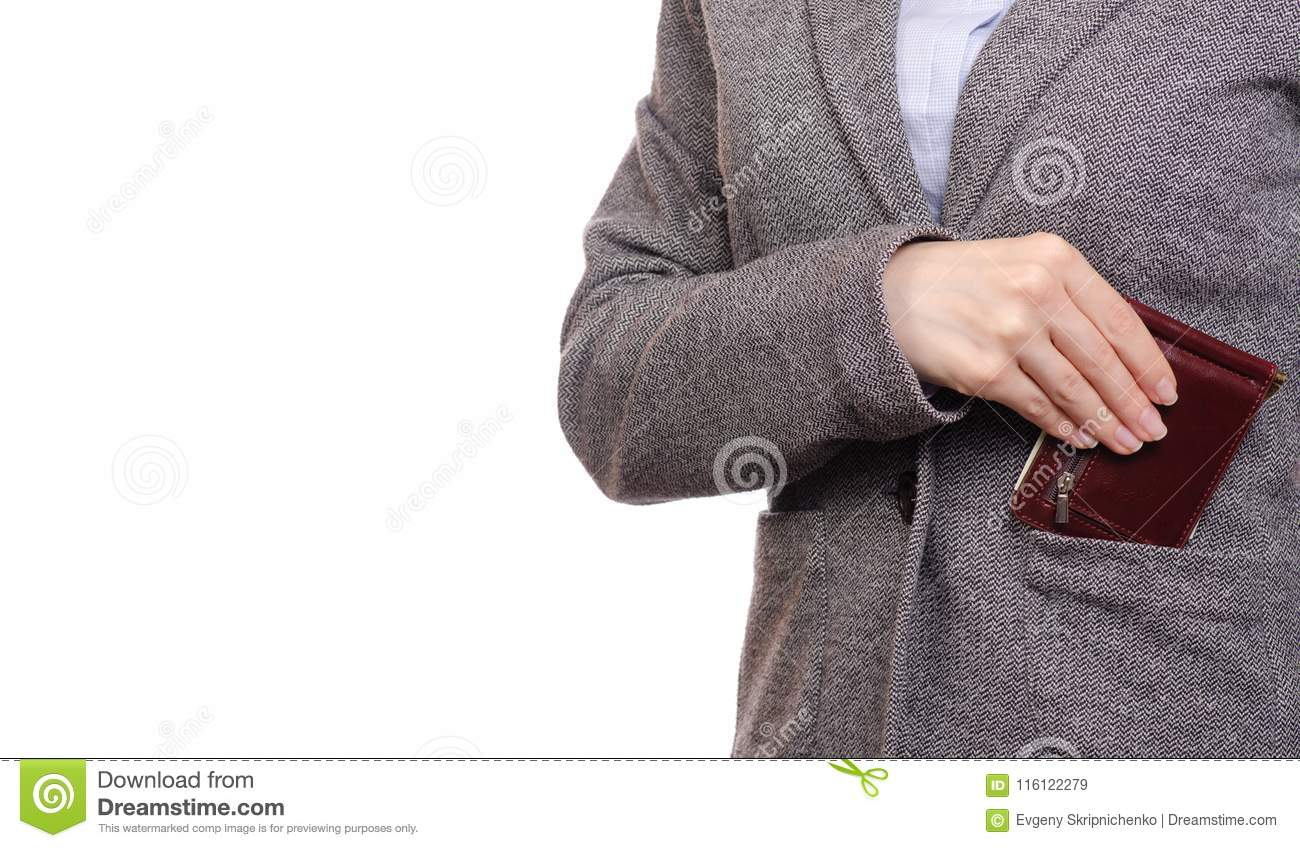Woman in shirt and jacket business woman put purse in pocket