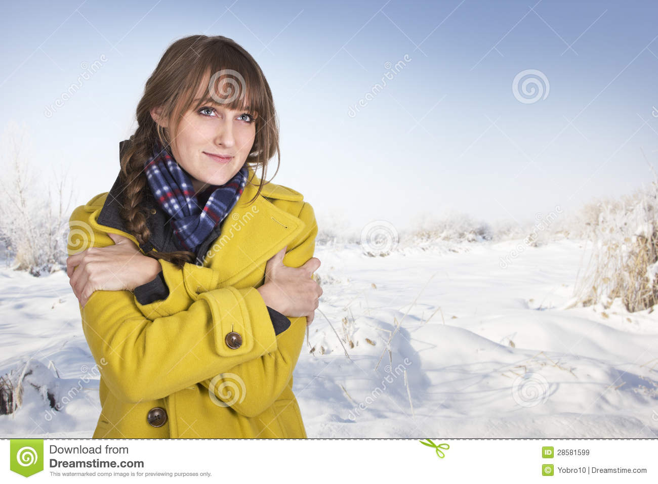 Freezing Cold Woman Woman Shivering On A C...
