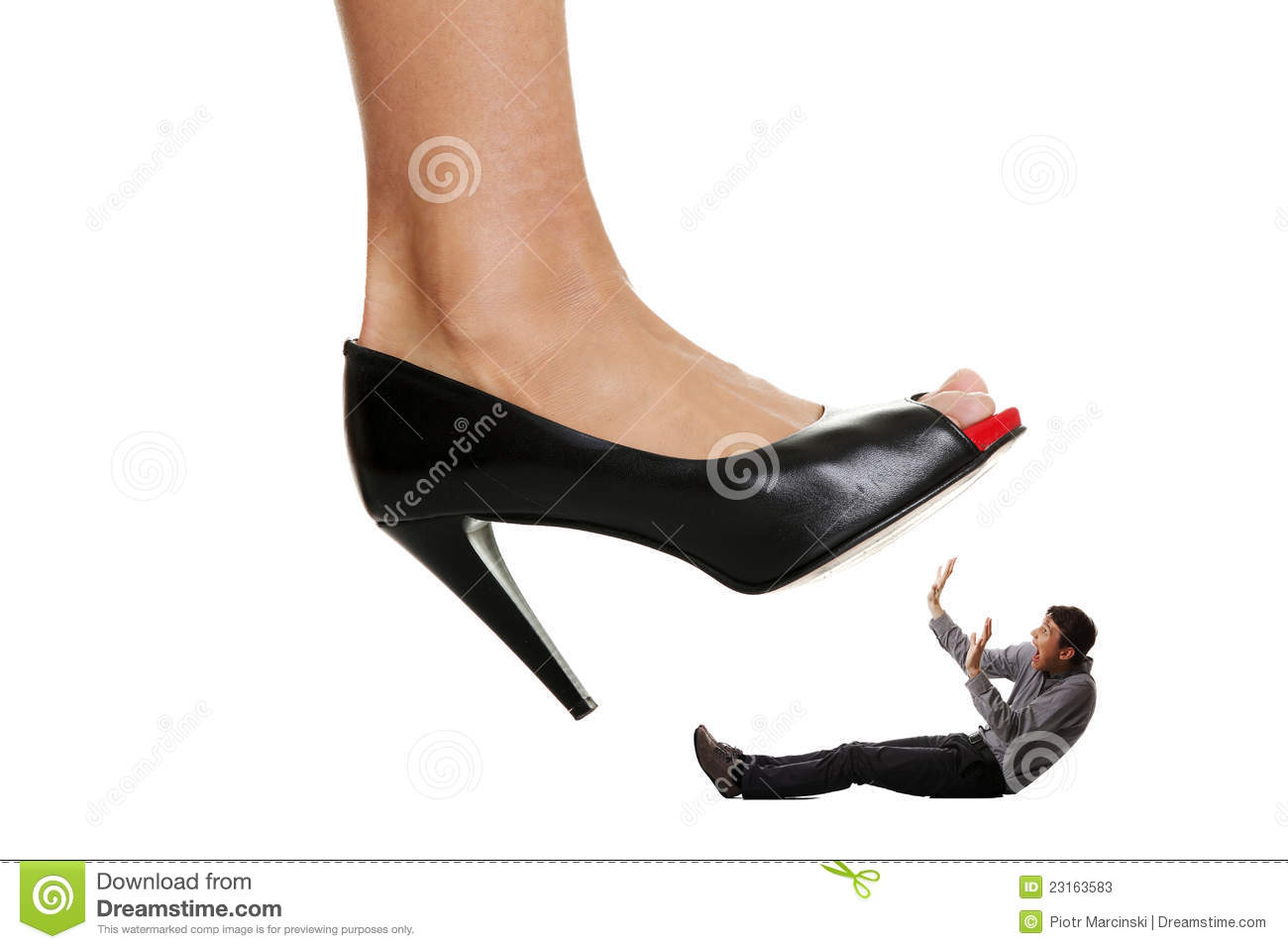 Woman Stepping On Man Woman shoe stepping on