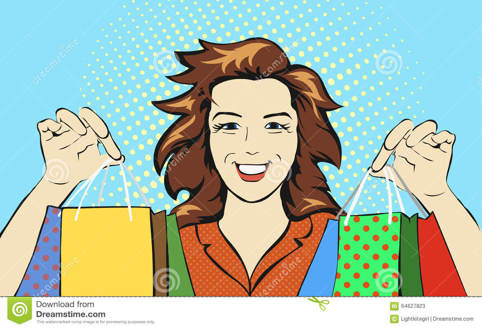 woman with a shopping bag discounts pop art retro stock