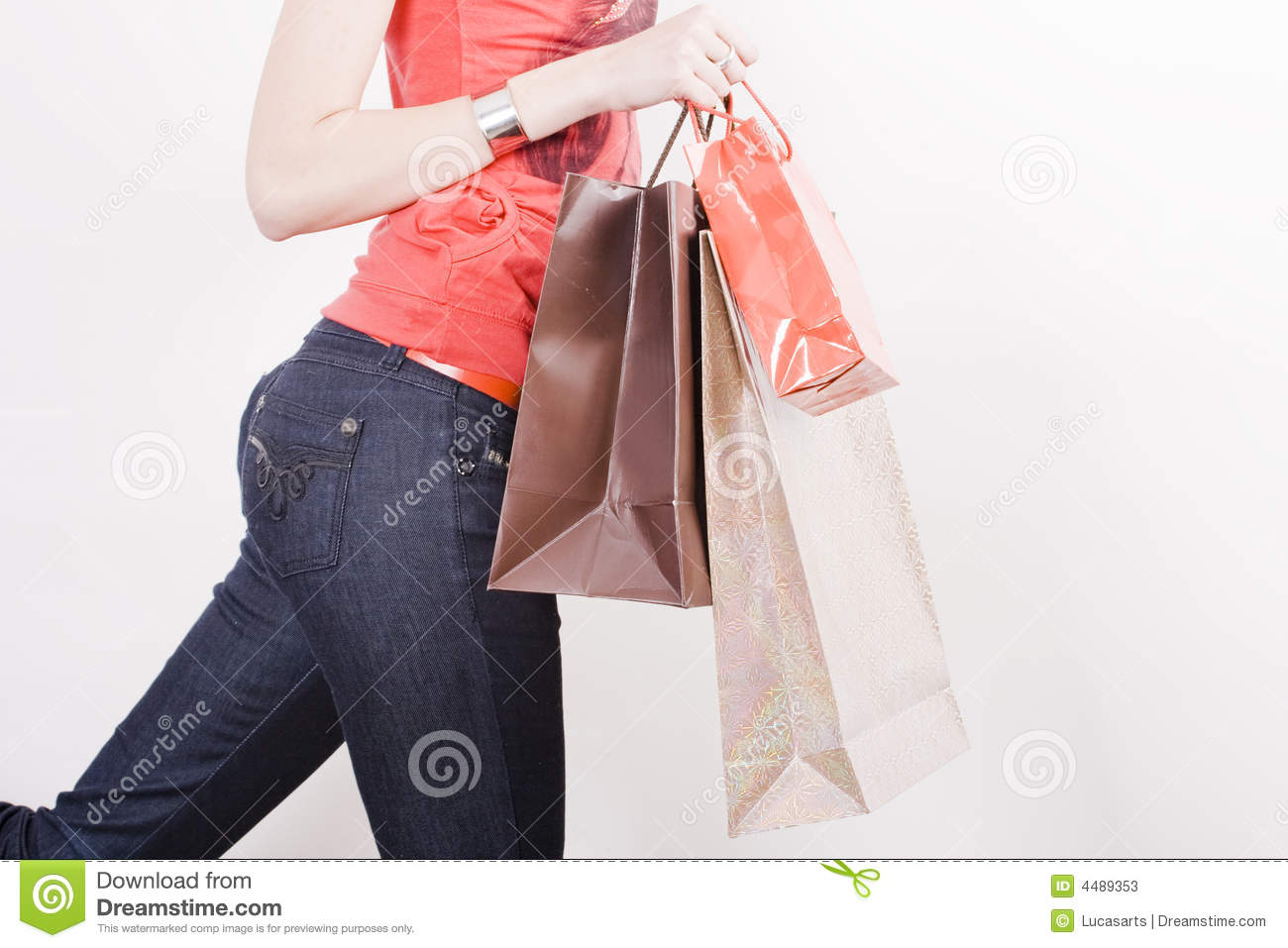 Beautiful Shopping Woman Holding Shopping Bags Royalty Free Stock Photography