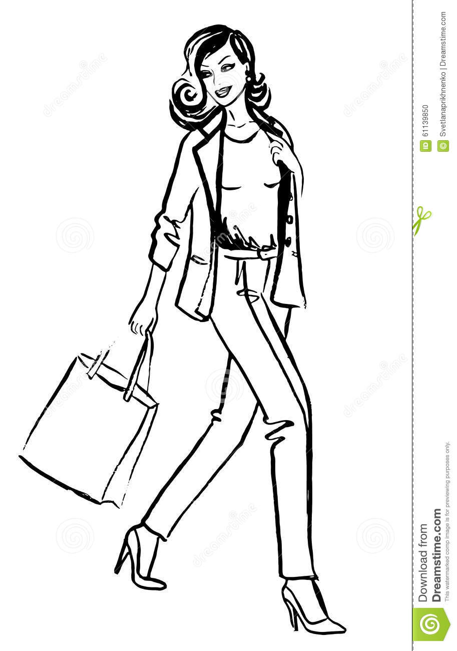 woman with shopping bags stock vector image 61139850