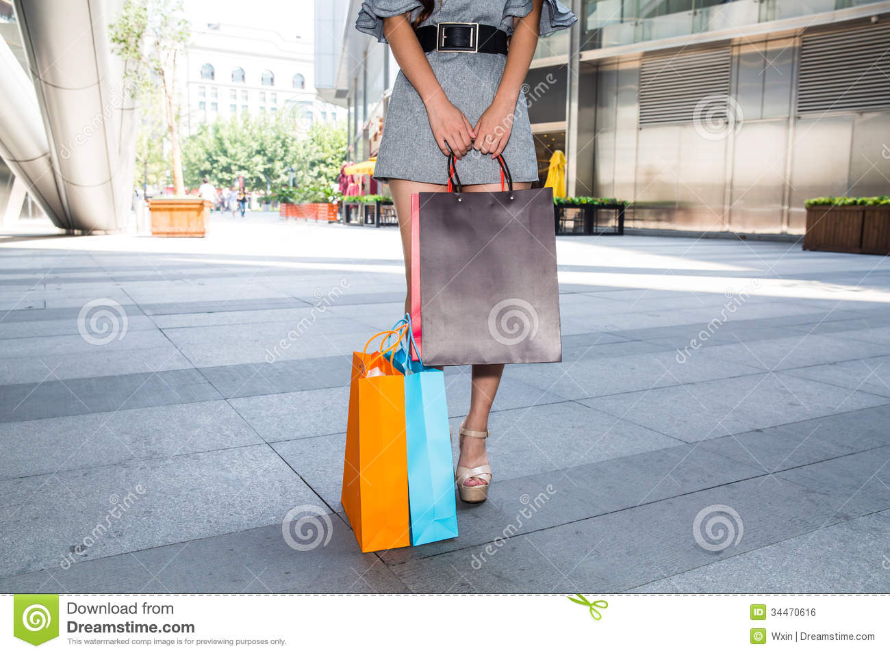Elegant  Wearing Warm Clothes While Carrying Shopping Bags In The Shopping