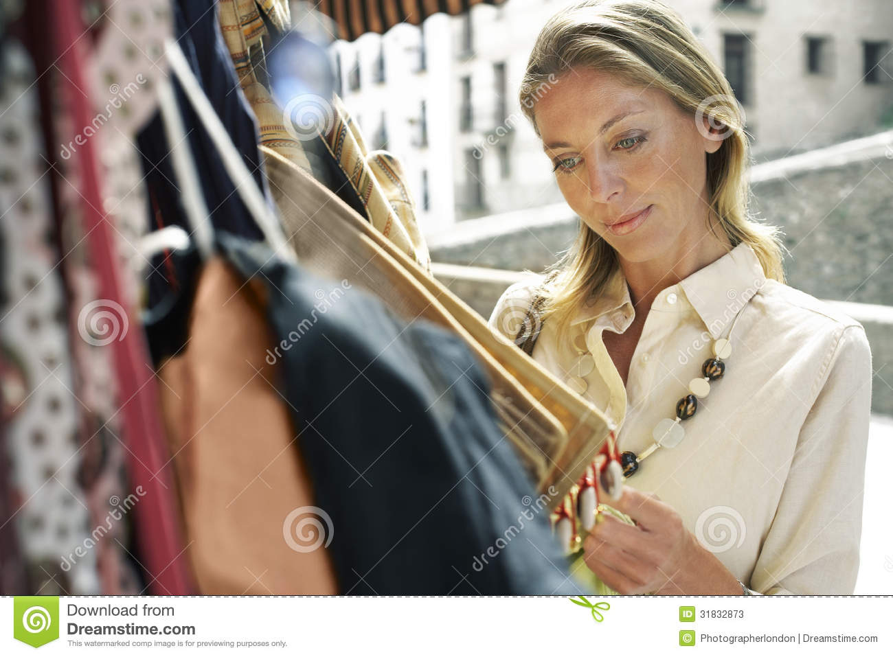 Woman Shopping For Bags On Market Stall Stock Image - Image of ... 9a67702996b6f