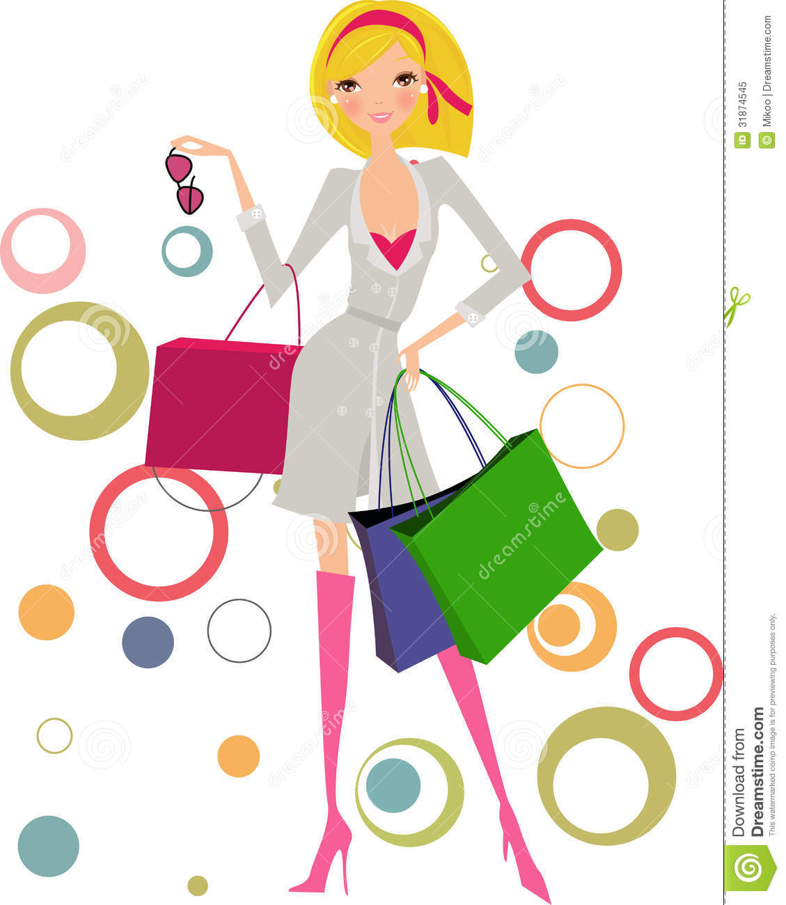 Woman with shopping bags stock vector. Image of package ...