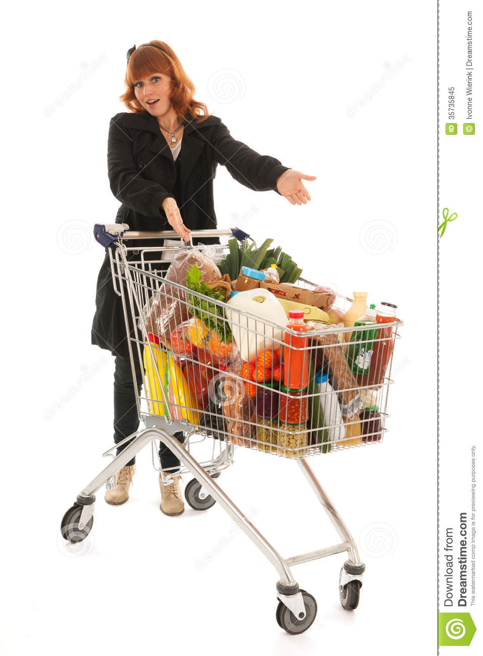 Woman With Shopping Cart Full Dairy Grocery Royalty Free Stock Photo ...