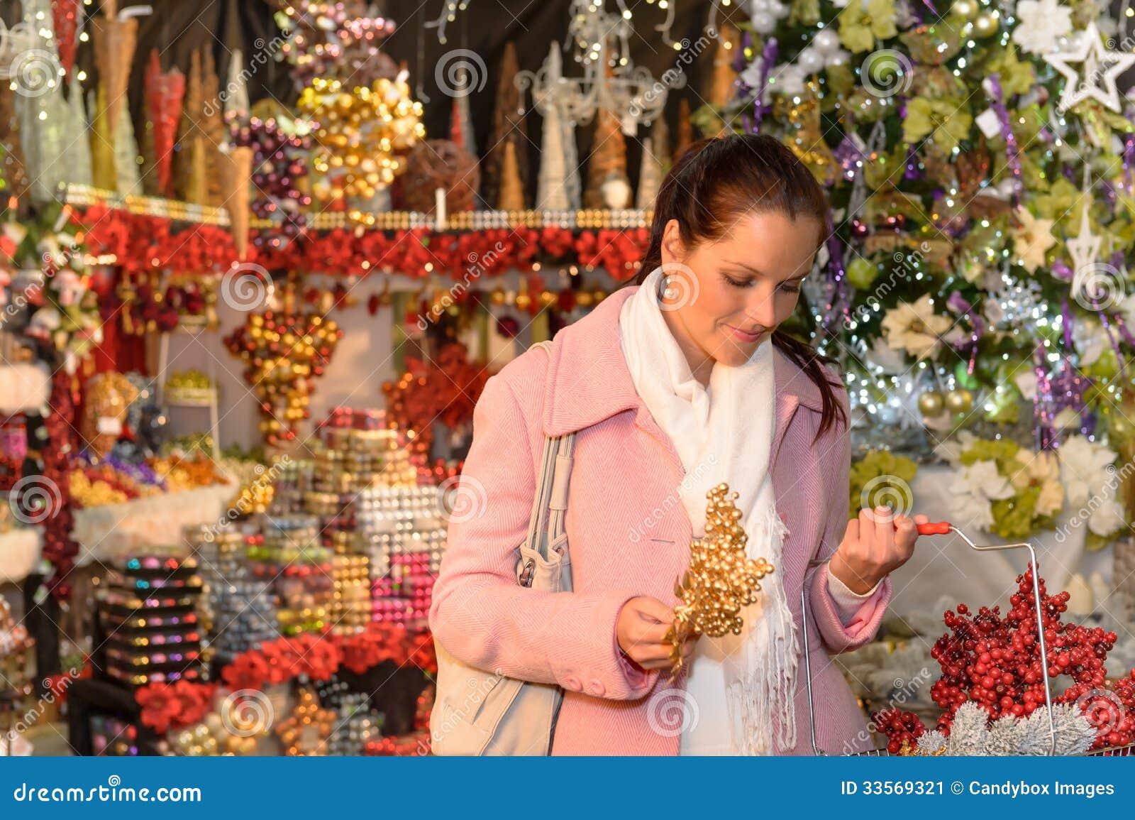 Woman Shopping Christmas Decorations Festive Mood Stock