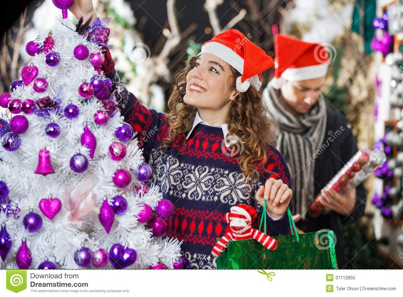 Woman Shopping For Christmas Decorations Royalty Free