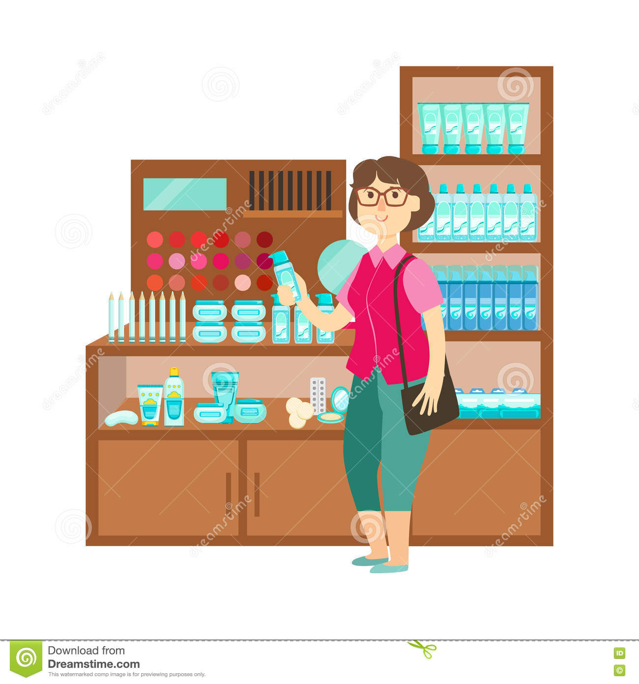 Woman Shopping Cosmetics, Shopping Mall And Department Store Section Illustration