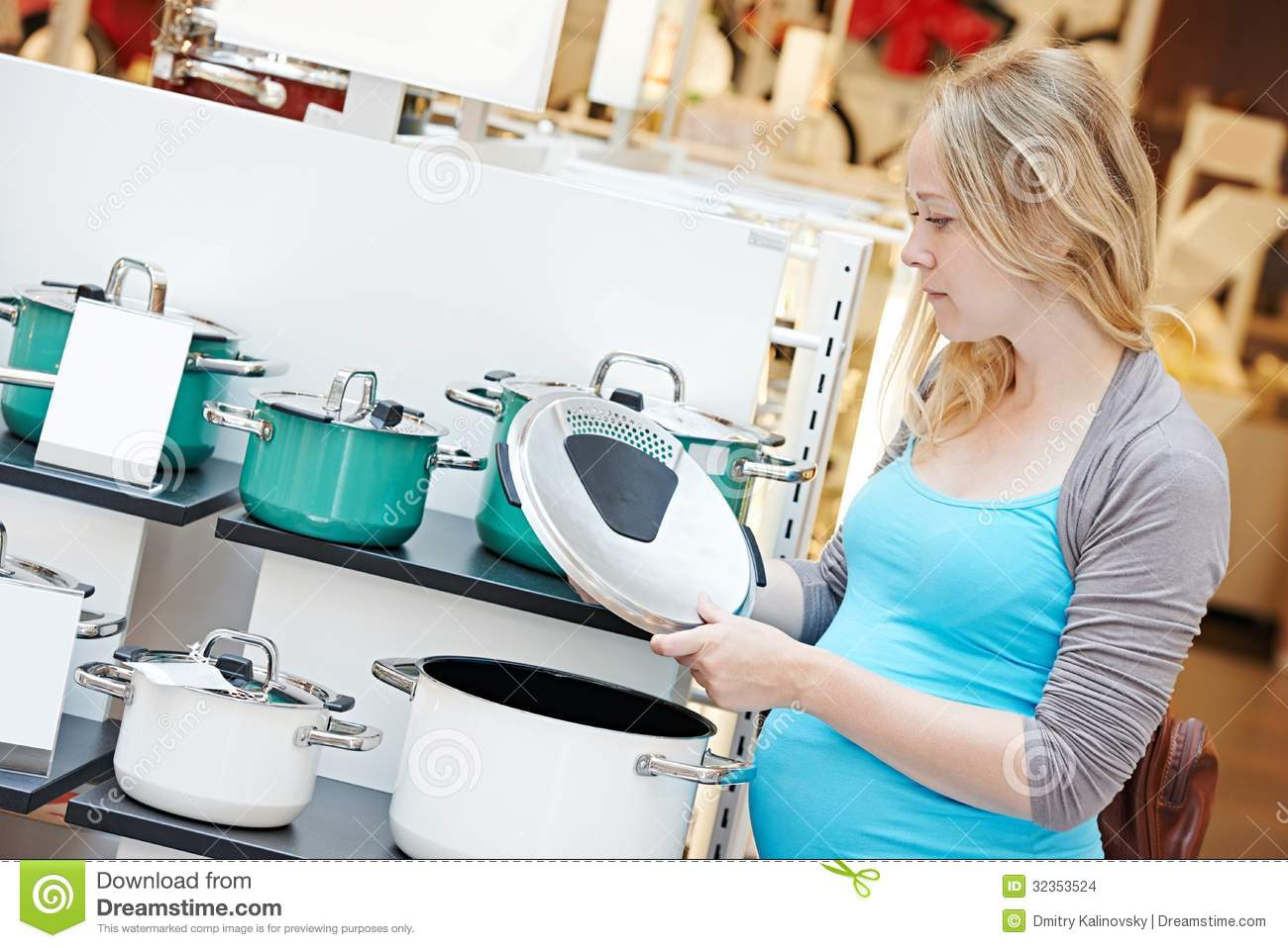 Appliance Choosing Home Kitchen Mall Pot Pregnant Shopping