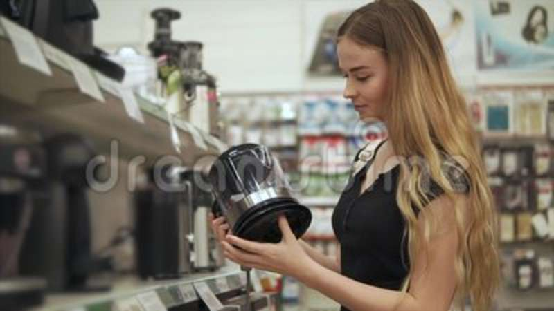 Woman Shopping For Kitchen Appliances. Stock Footage - Video of ...
