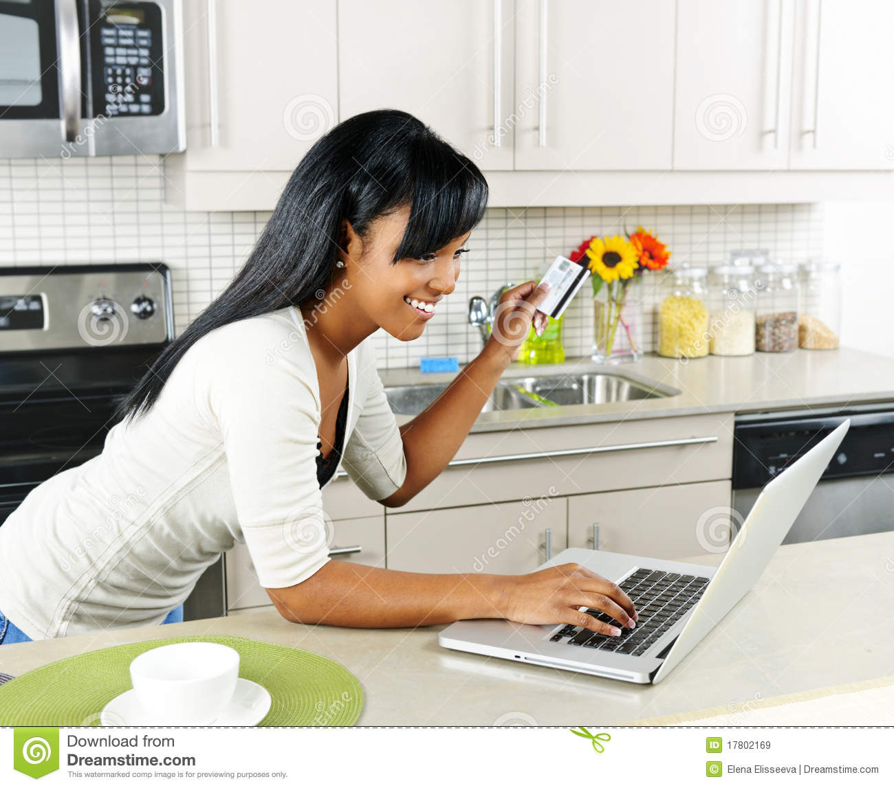 Home Shopping Online: Woman Shopping Online At Home Stock Image