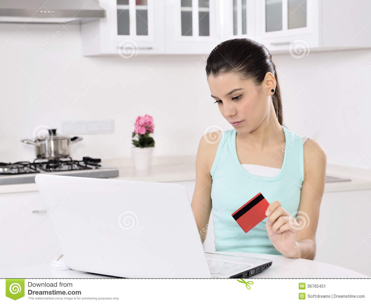 Woman Shopping Online At Home Stock Image - Image: 36765451