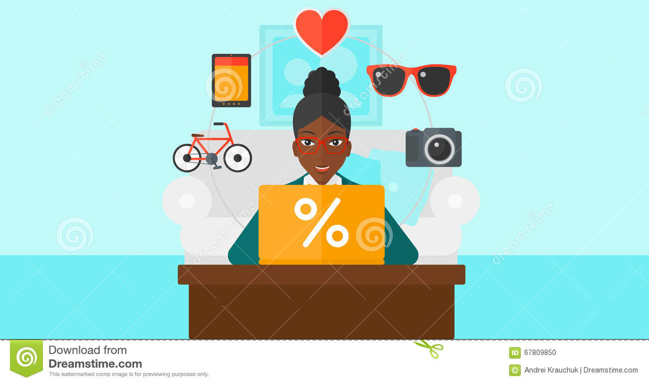 Woman Shopping Online Using Her Laptop Stock Vector