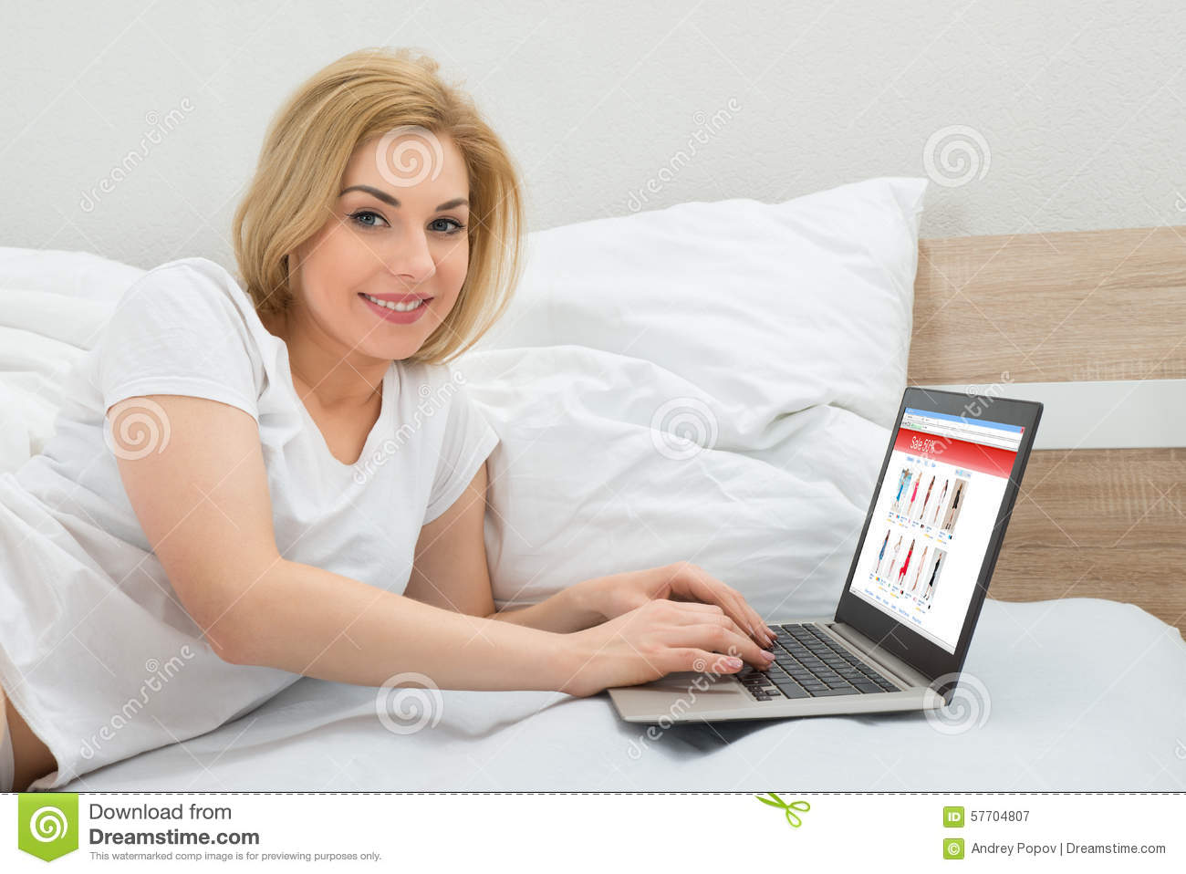 Woman Shopping Online Using Laptop Stock Photo - Image ...