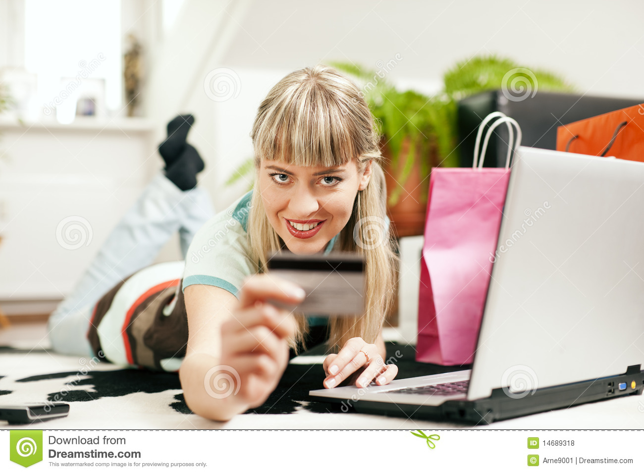 Woman shopping online via internet from home royalty free for Online shopping for the home