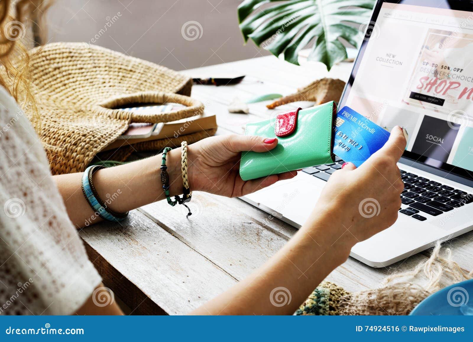 Woman Shopping Online Website Computer Concept