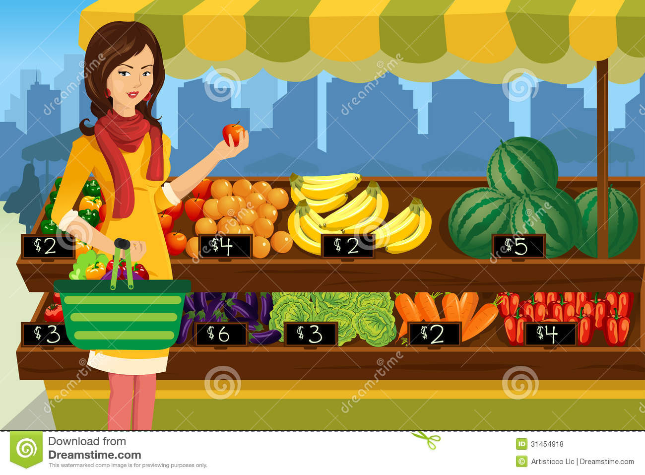 Woman Shopping In An Outdoor Farmers Market Royalty Free