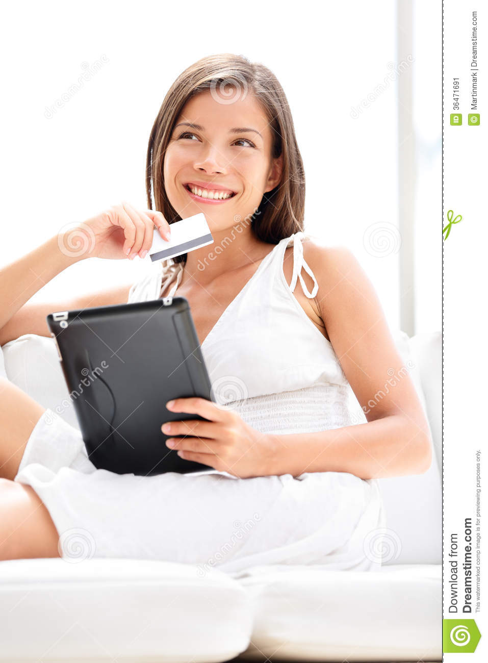 Woman Shopping On Tablet Computer With Credit Card Stock Image - Image ...: dreamstime.com/stock-image-woman-shopping-tablet-computer-credit...