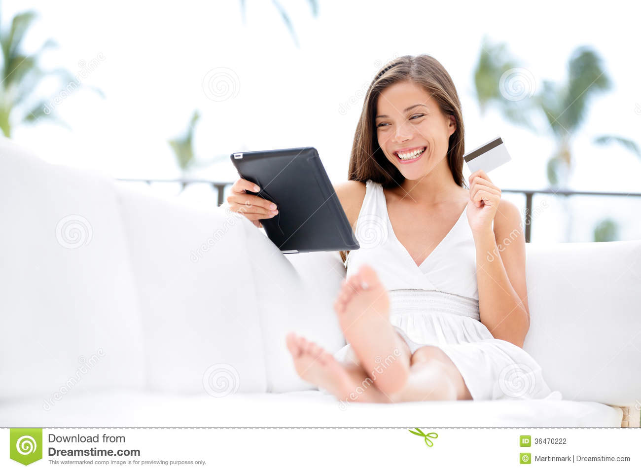 woman shopping on tablet computer and credit card stock photography. Black Bedroom Furniture Sets. Home Design Ideas