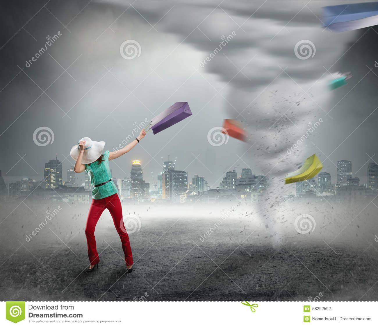Woman And Shopping Tornado Stock Photo. Image Of Calamity ...
