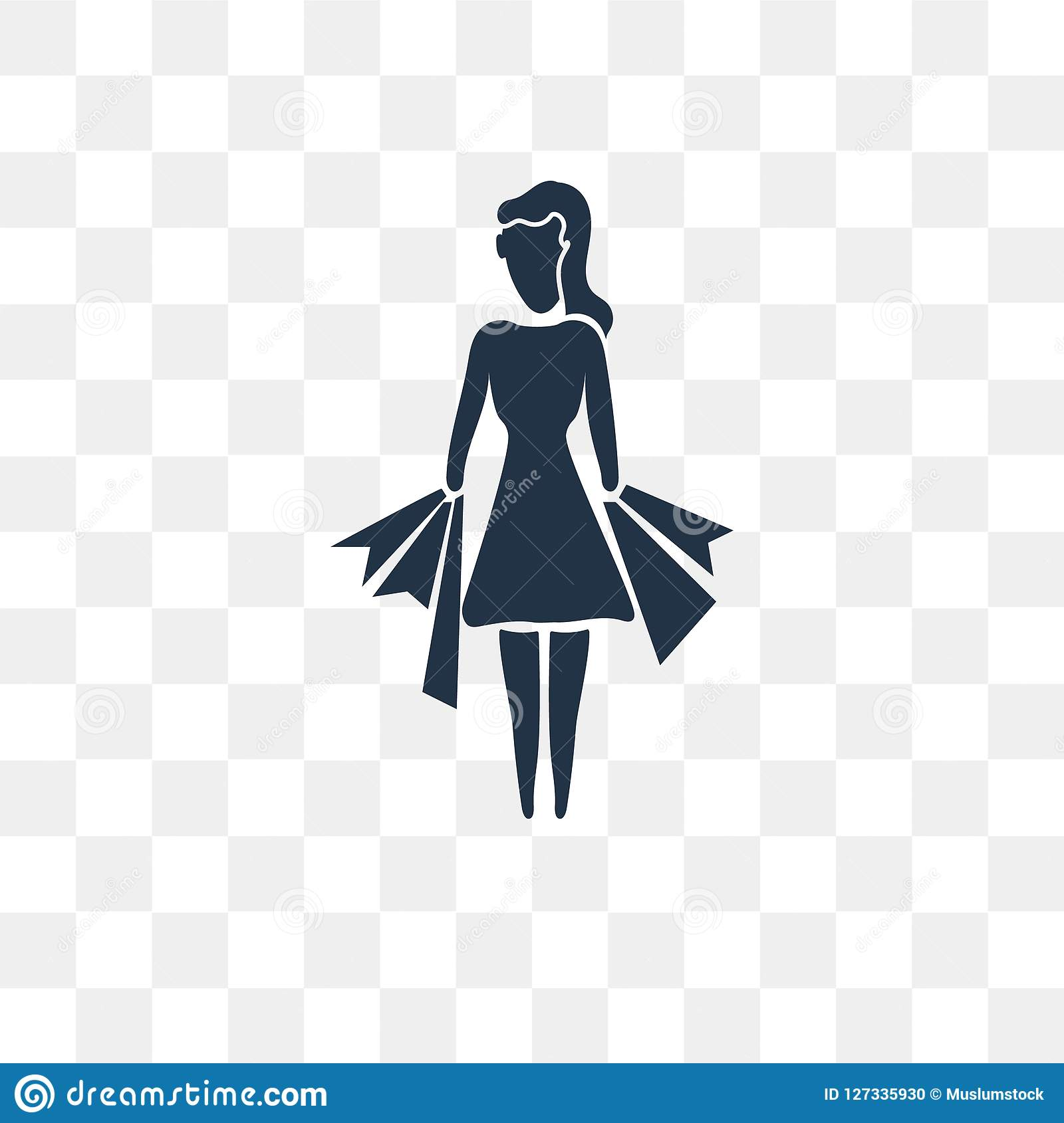 Woman Shopping vector icon isolated on transparent background, W