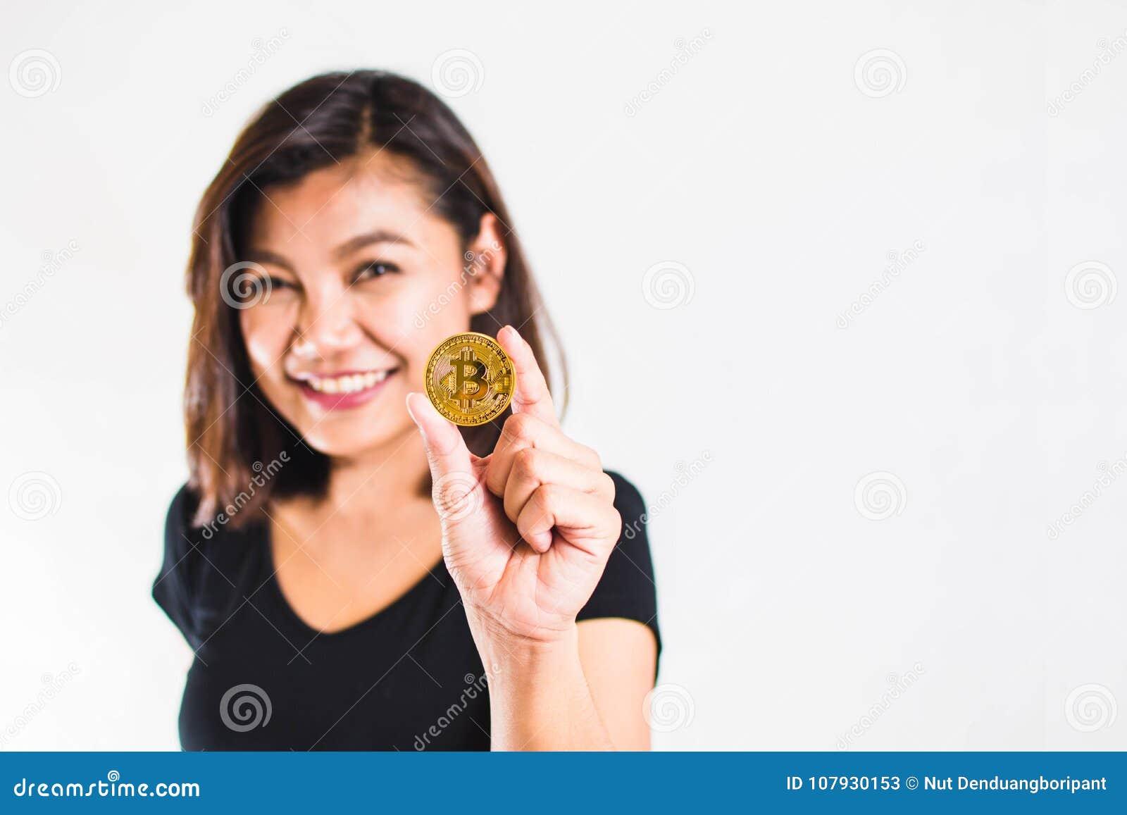 Woman Show Bitcoin