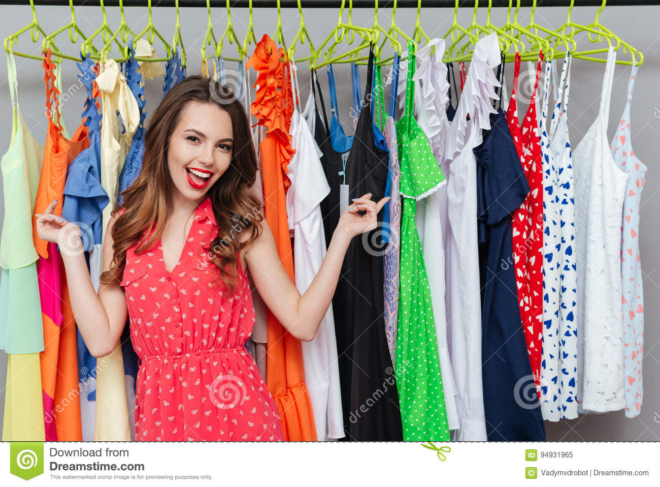 Woman showing at dresses