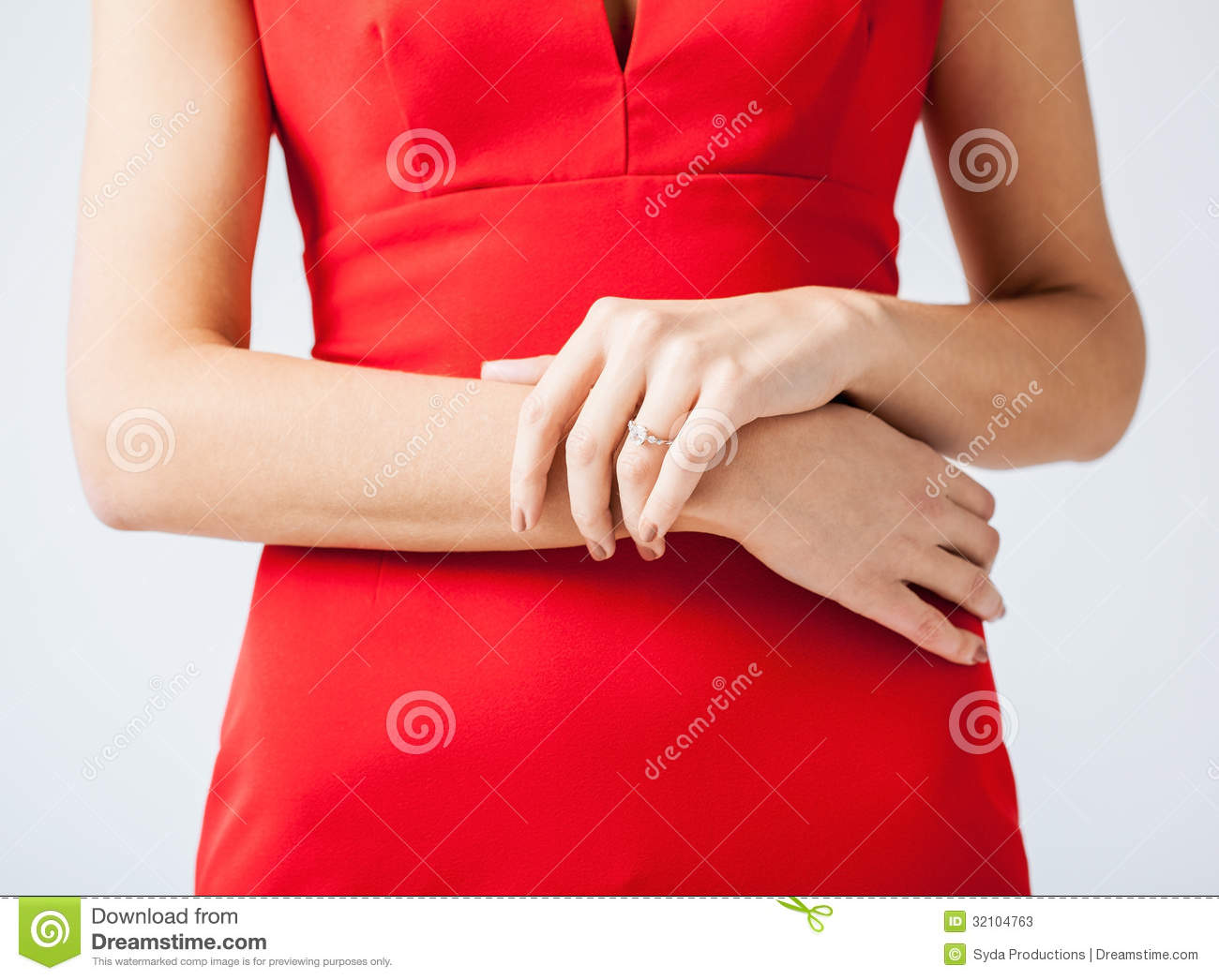 Woman Showing Wedding Ring On Her Hand Stock Image Image of