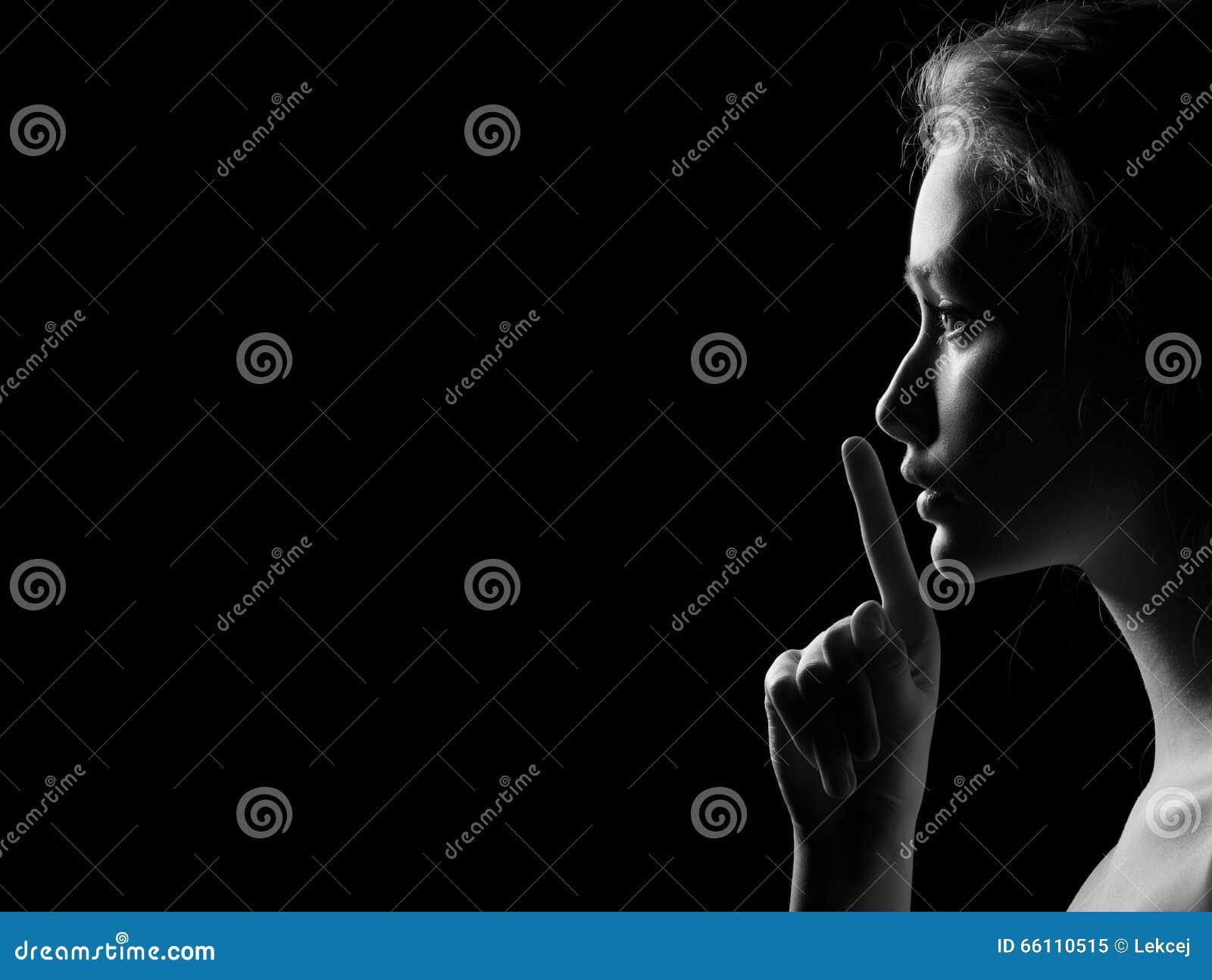 woman shows silence stock photo image 66110515