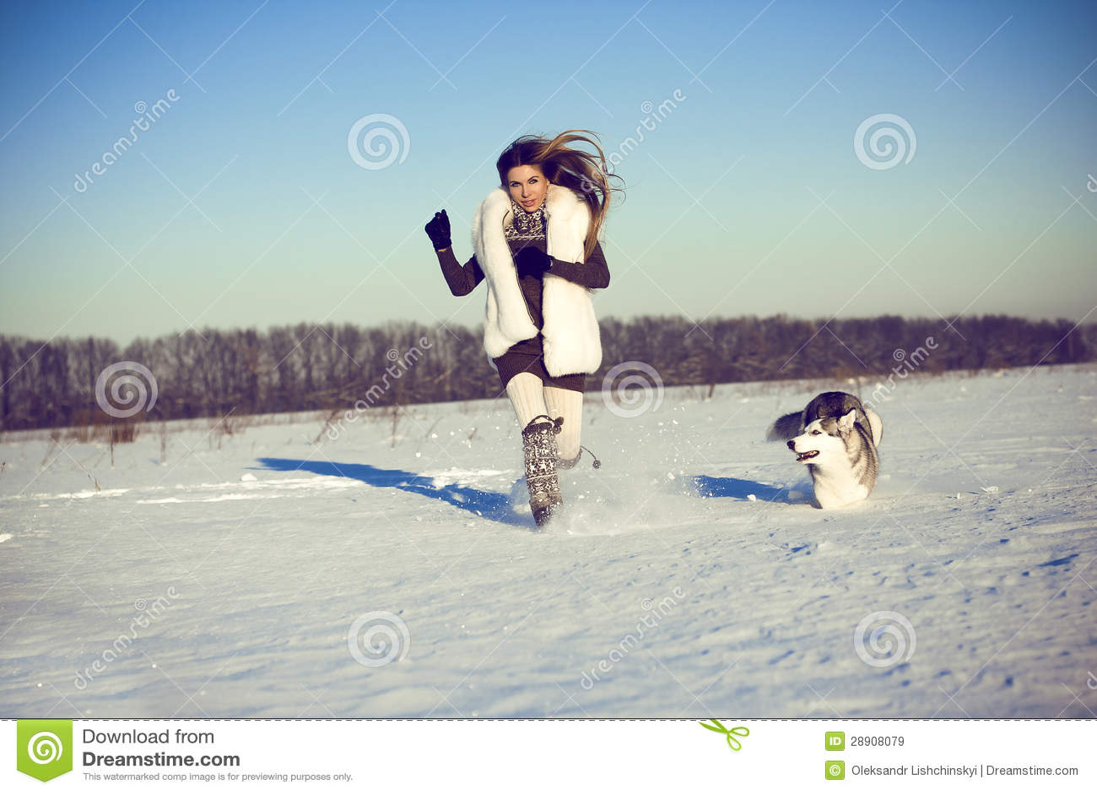 Woman with siberian husky
