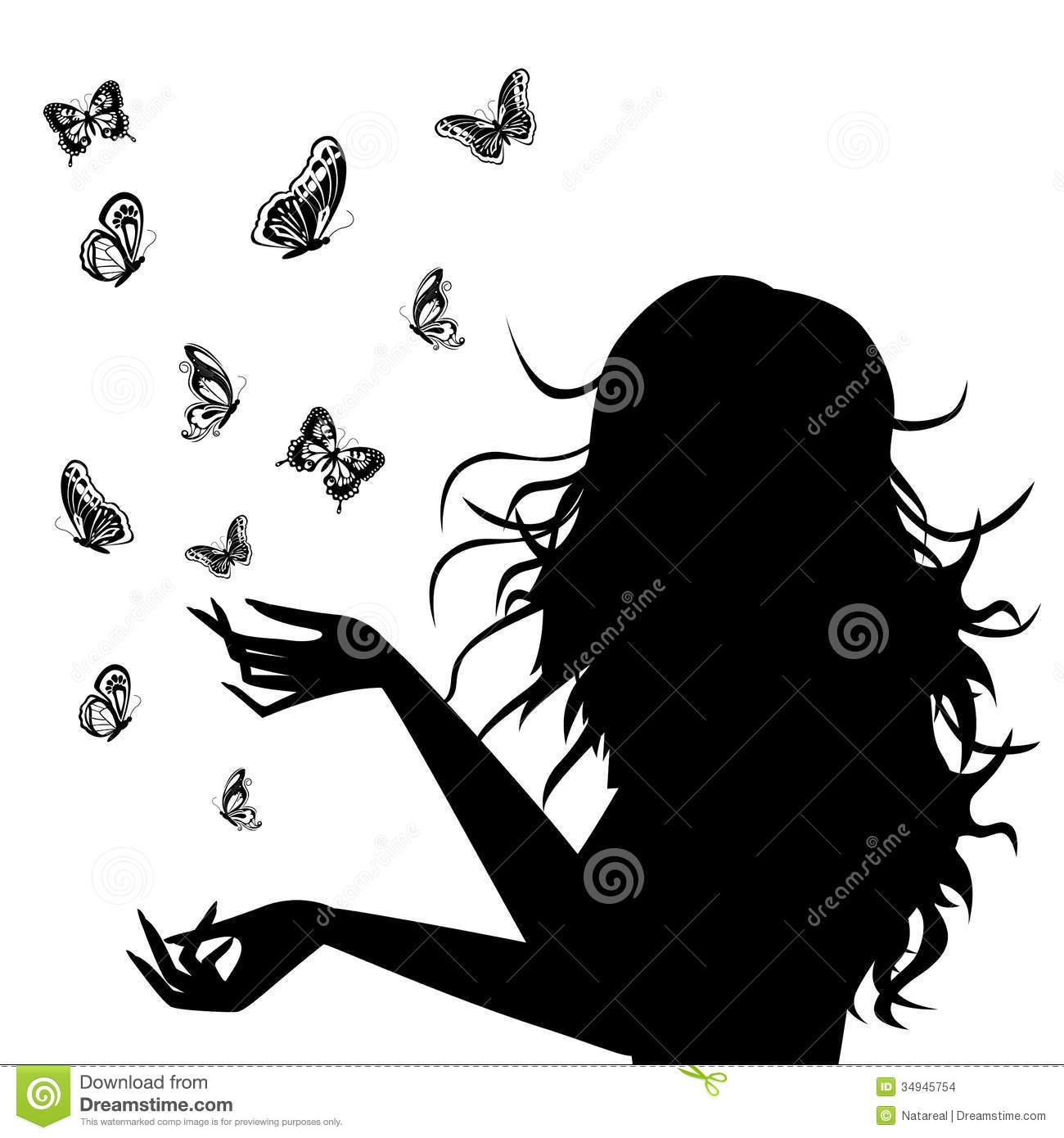 woman silhouette with butterflies around her stock images image