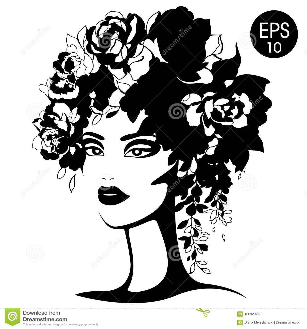 Woman Silhouette With Flowers Vector Fashion Portrait Black And