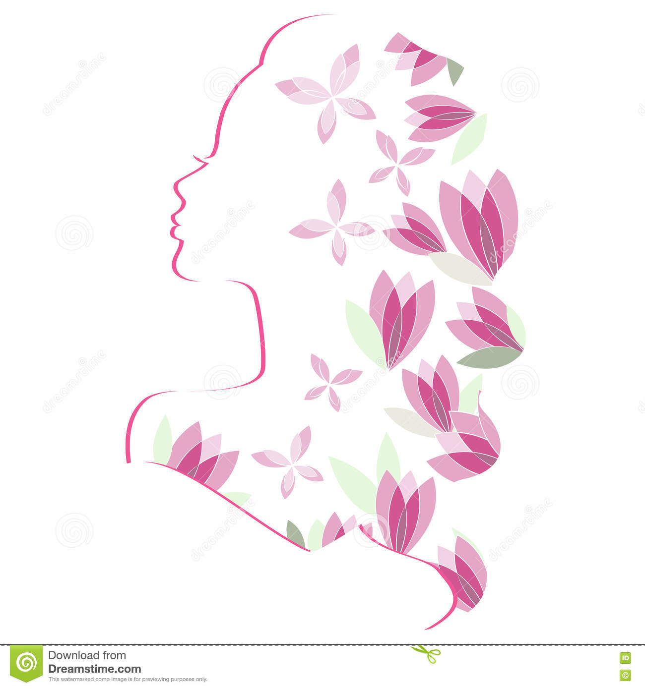 Woman silhouette with flowers