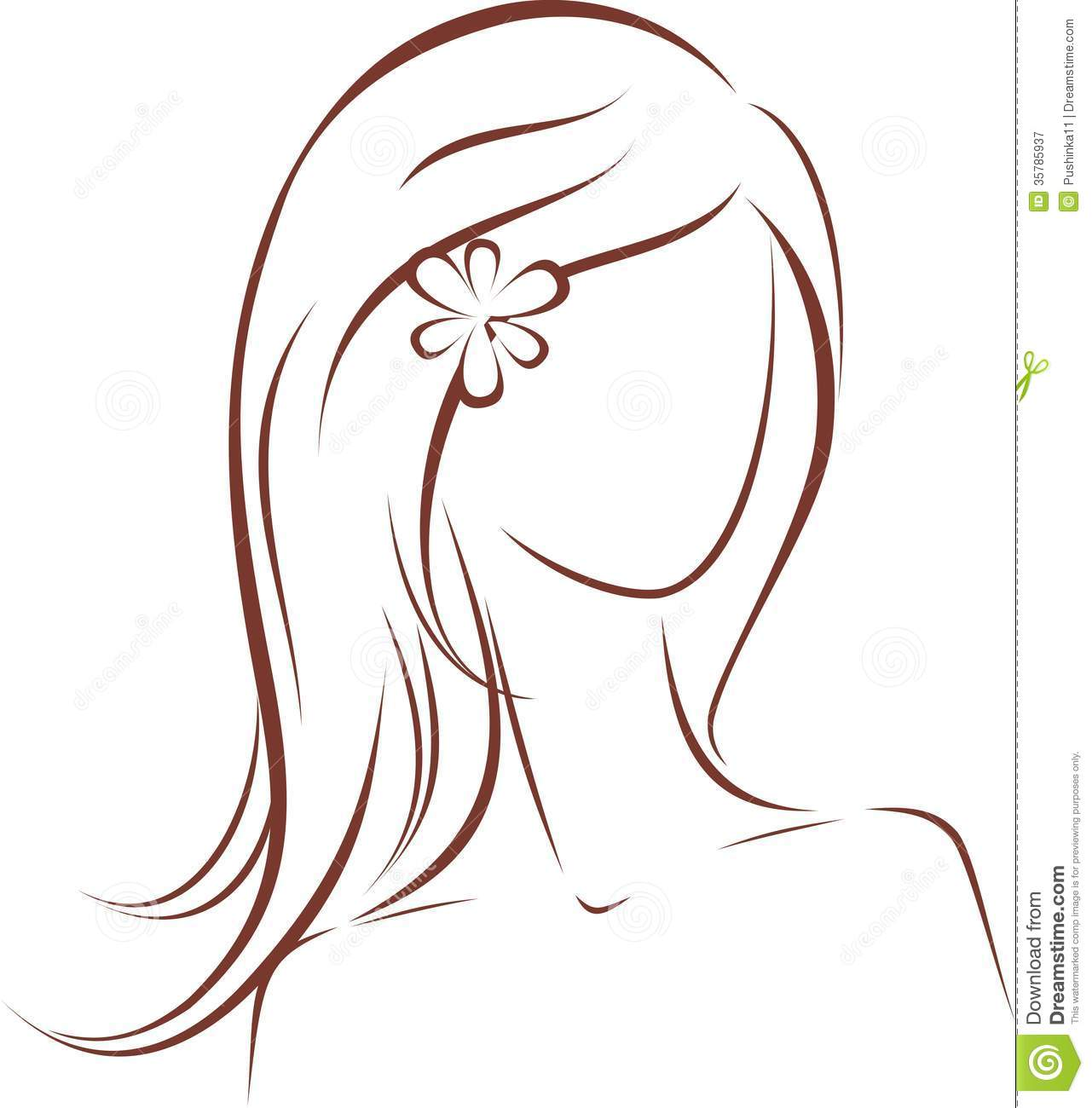 Woman Silhouette Stock Vector Image Of Lady Sketch - Girl hairstyle vector free download