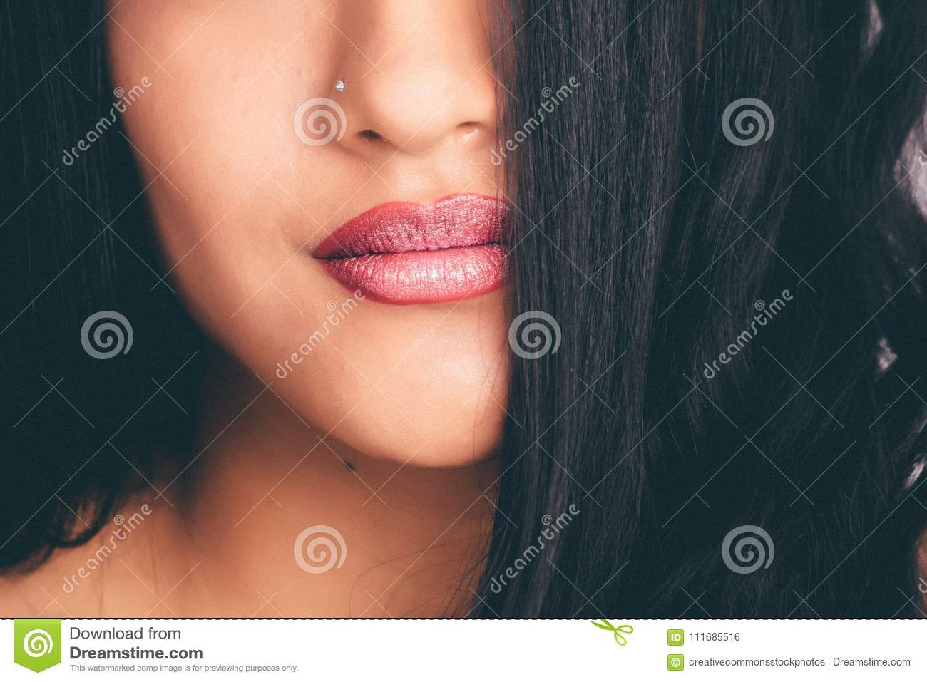 Woman With Silver Colored Nose Pin Picture Image 111685516