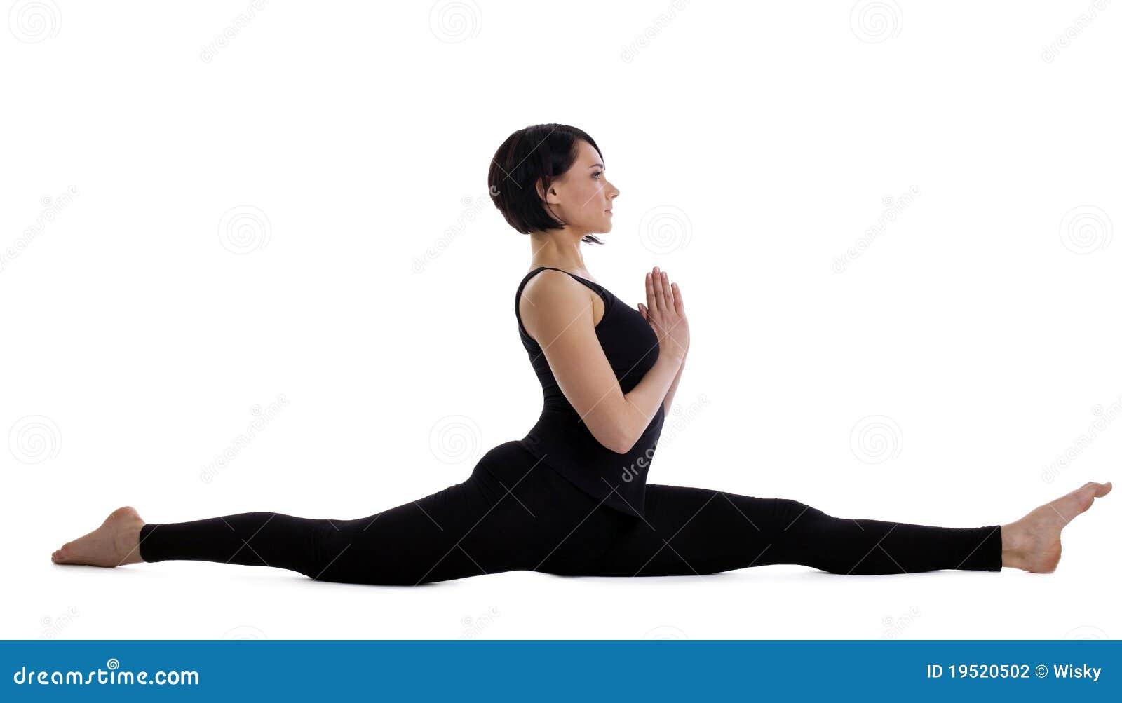 Woman Sit In Yoga Pose - Hanumanasana Isolated Stock ...  Woman Sit In Yo...