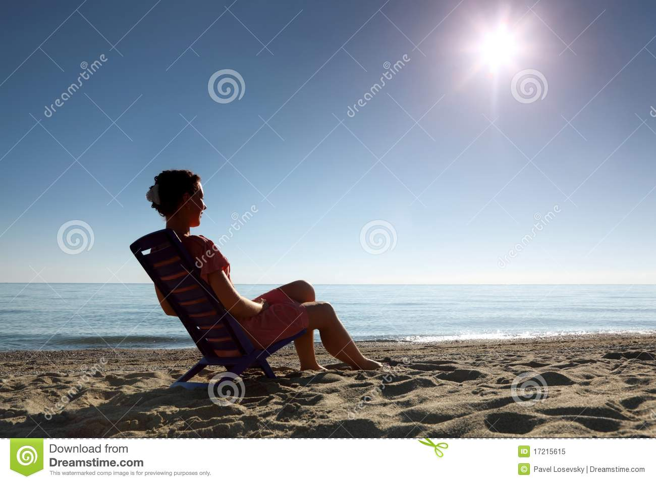 Download Woman Sits On Plastic Chair Sideways On Beach Stock Image - Image of chair, beach: 17215615