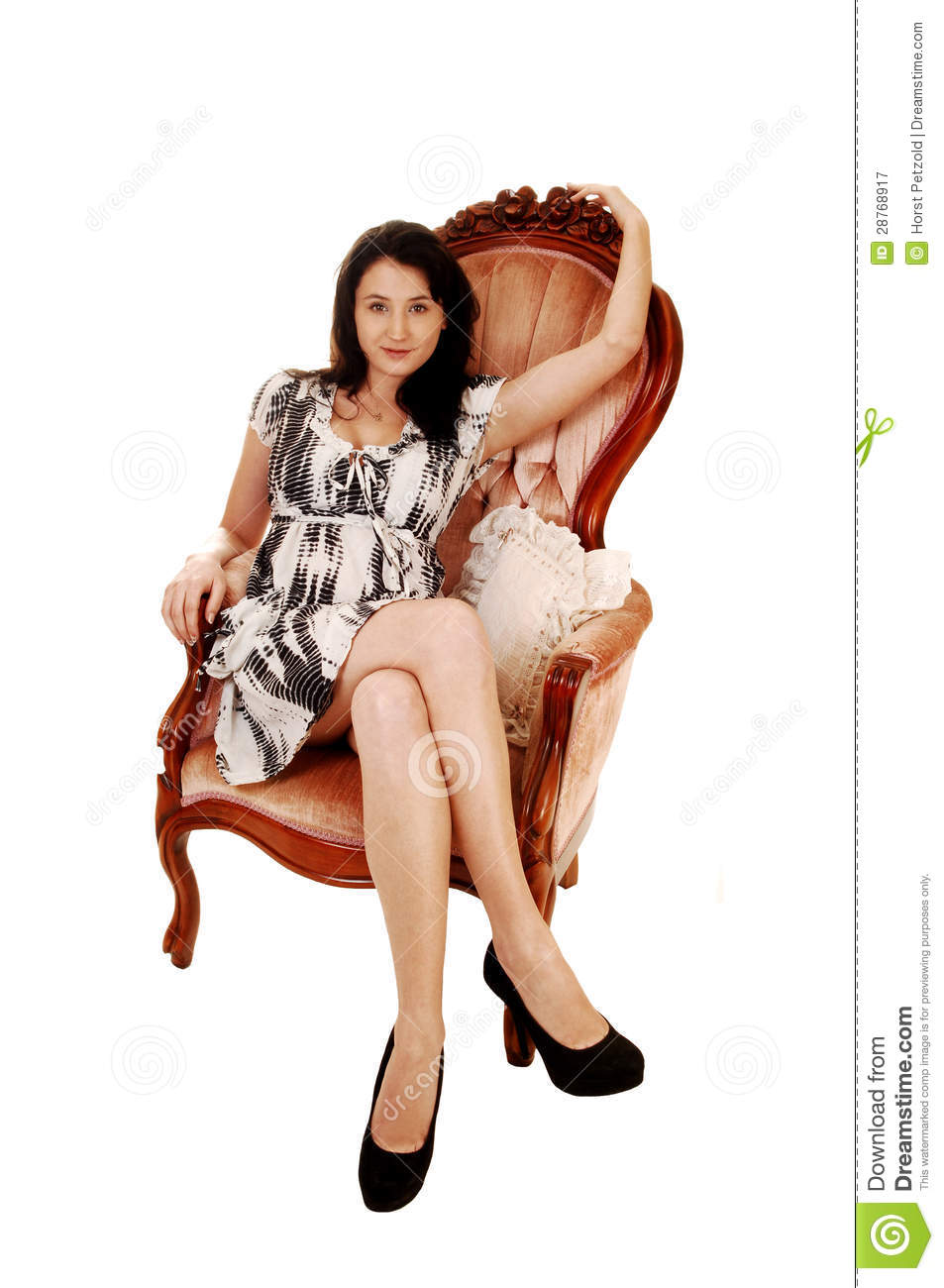 Woman sitting on armchair royalty free stock photography for Sitting in armchair