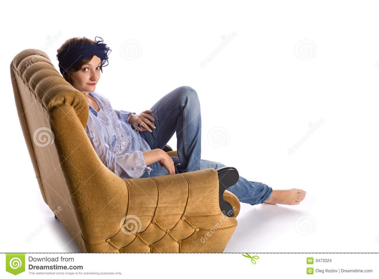 Woman sitting in armchair stock images image 3473324 for Sitting in armchair