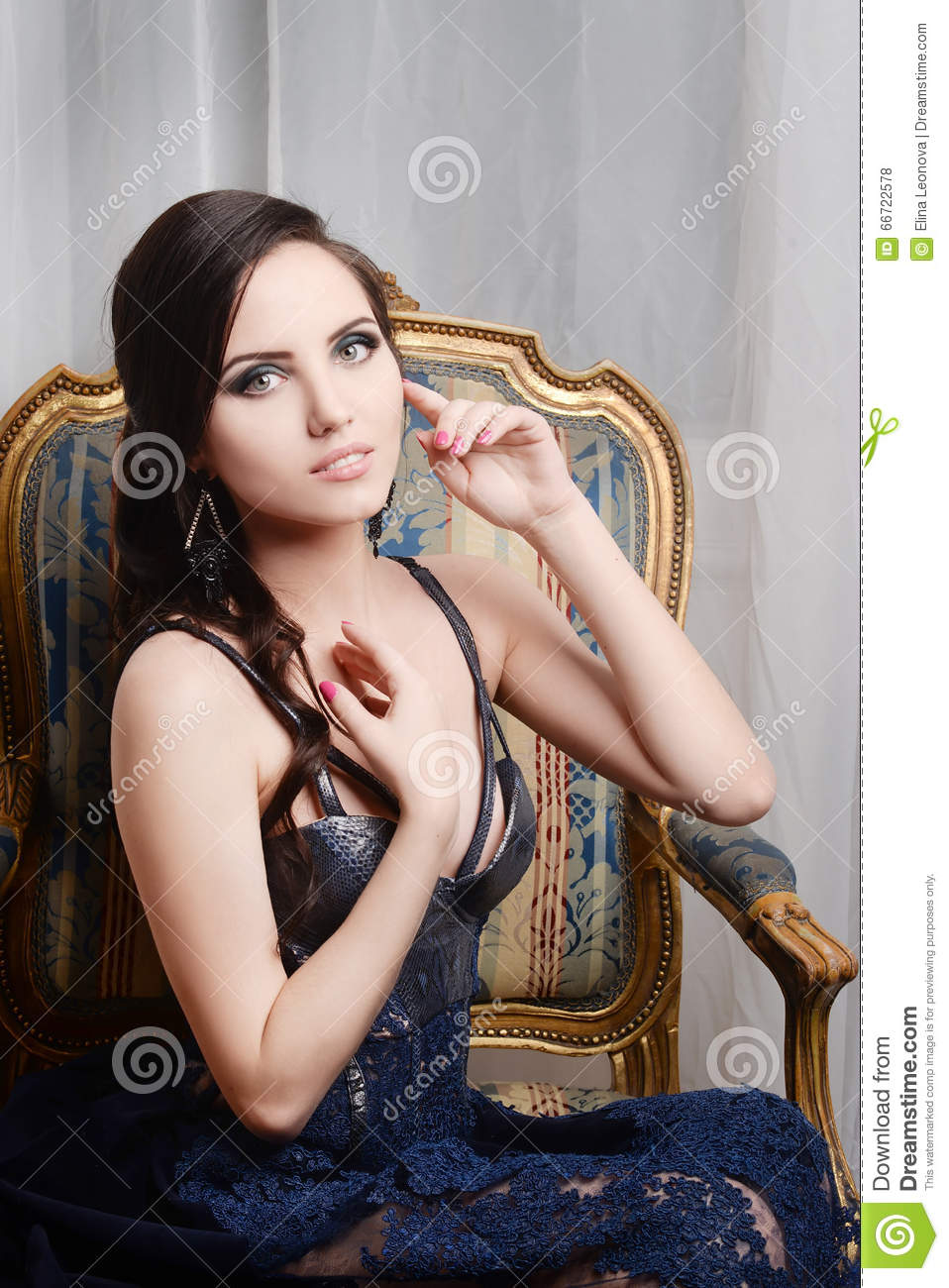 Woman Sitting In Armchair. Retro, Vintage Style. Fashion ...