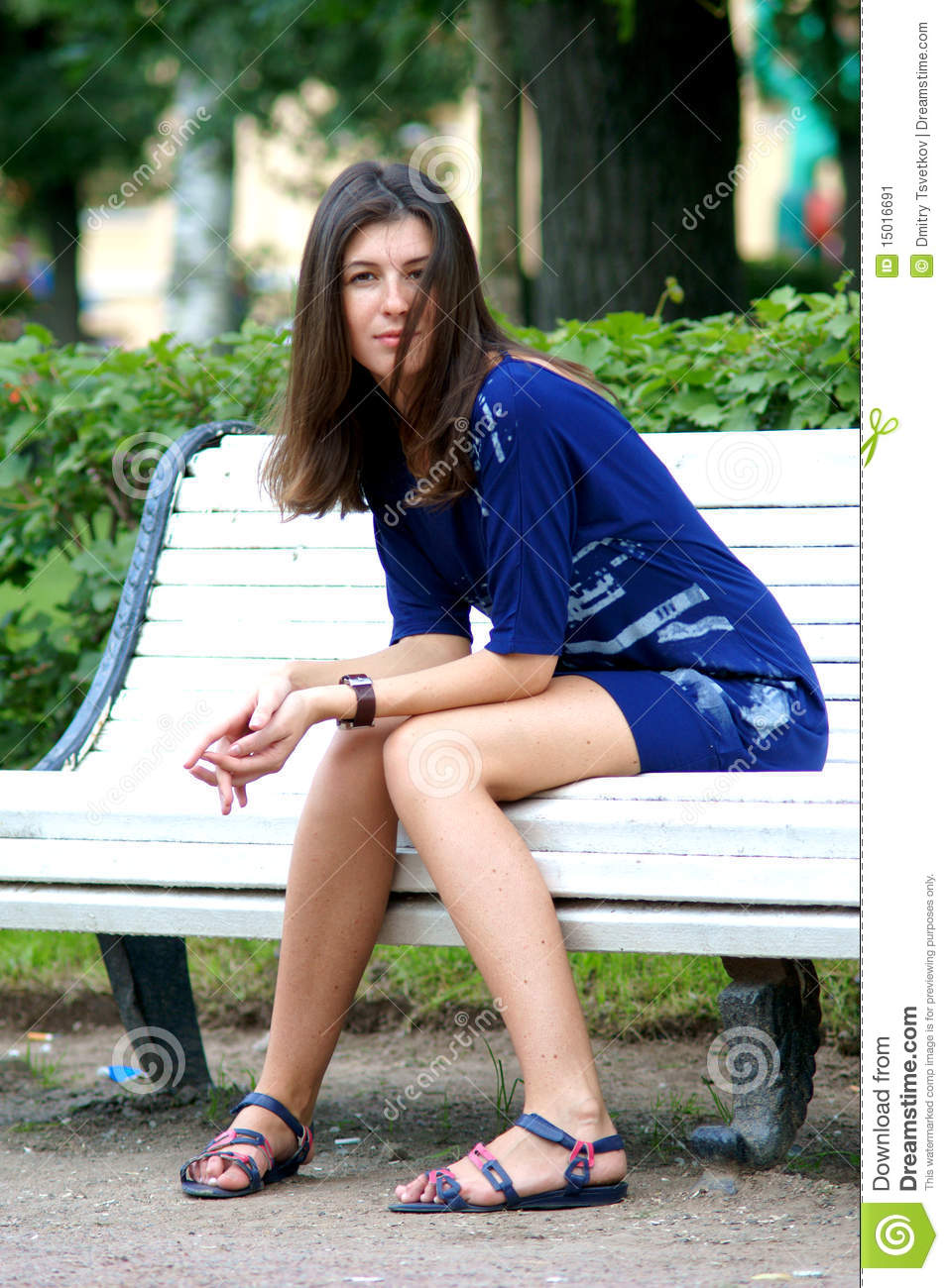 Woman Sitting On A Bench Stock Image Image 15016691