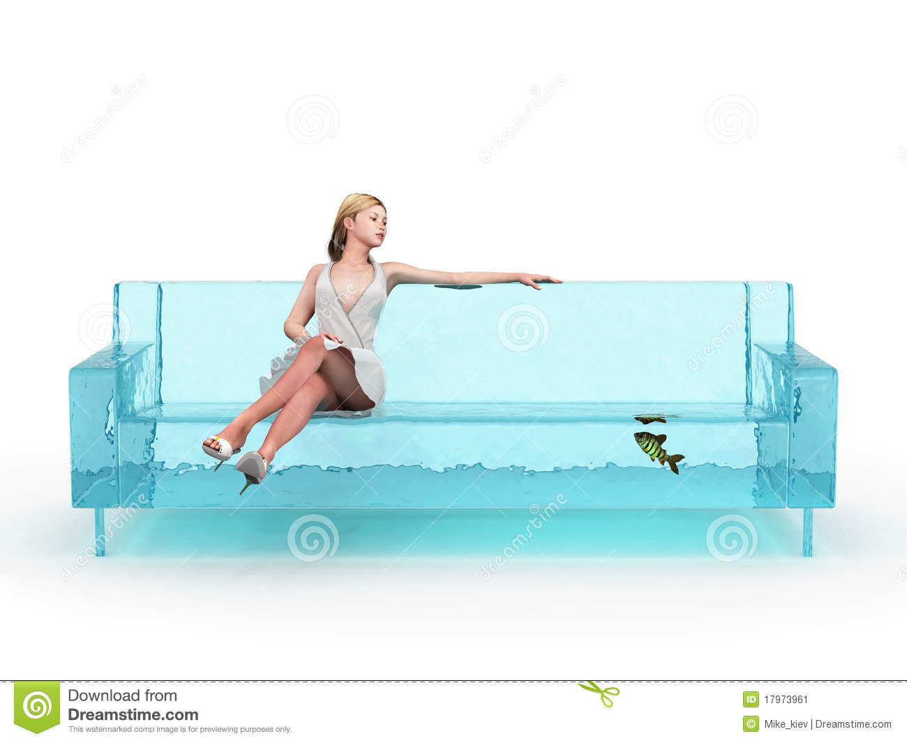 Superb Woman Sitting On Blue Water Couch