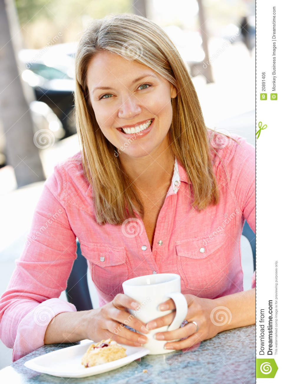 Woman sitting in cafe stock photo. Image of cake ...