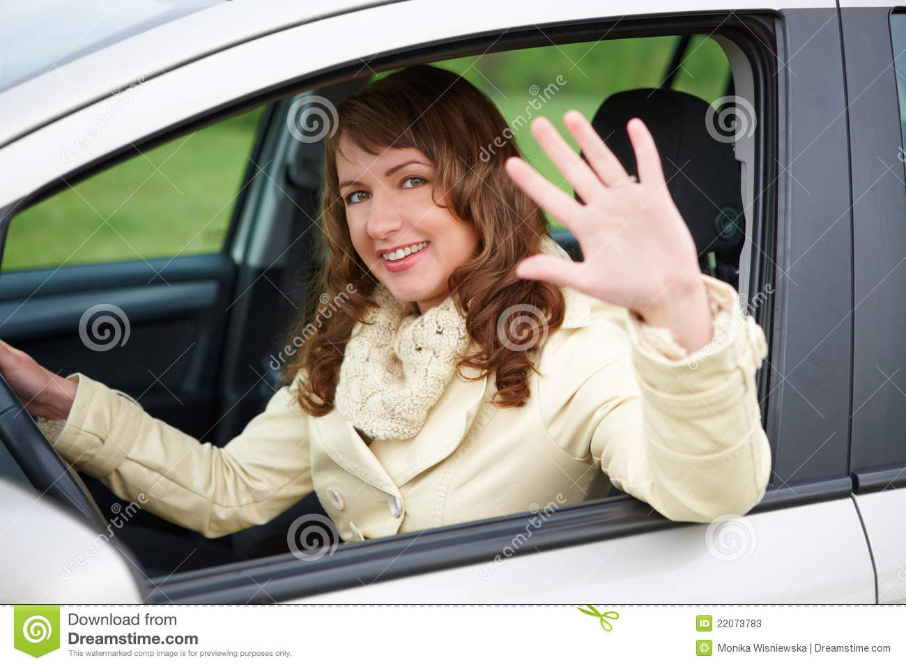 Car Insurance Prices >> Woman Sitting In The Car And Waving Stock Image - Image: 22073783