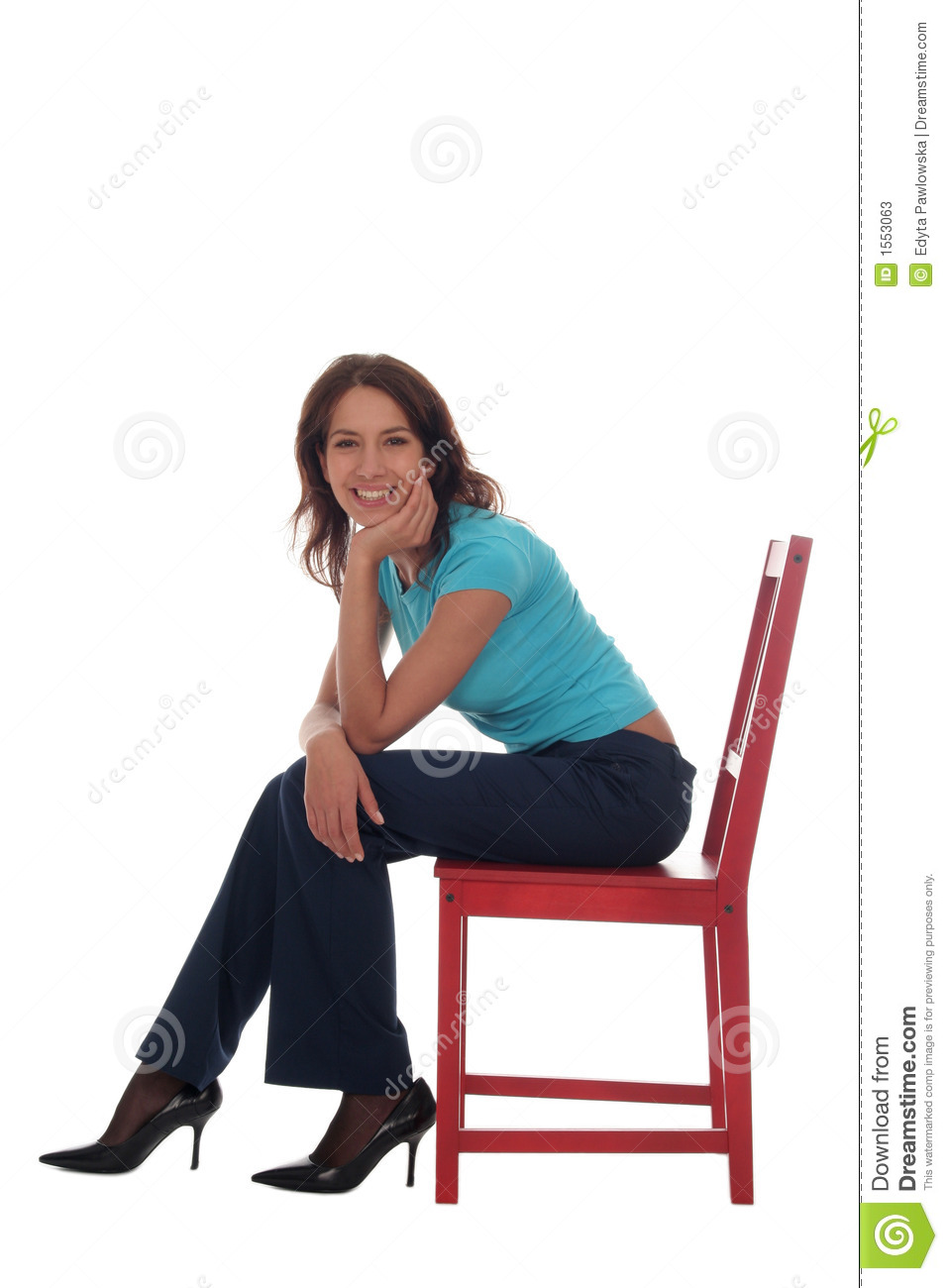 woman sitting on chair stock image image of pretty person 1553063. Black Bedroom Furniture Sets. Home Design Ideas