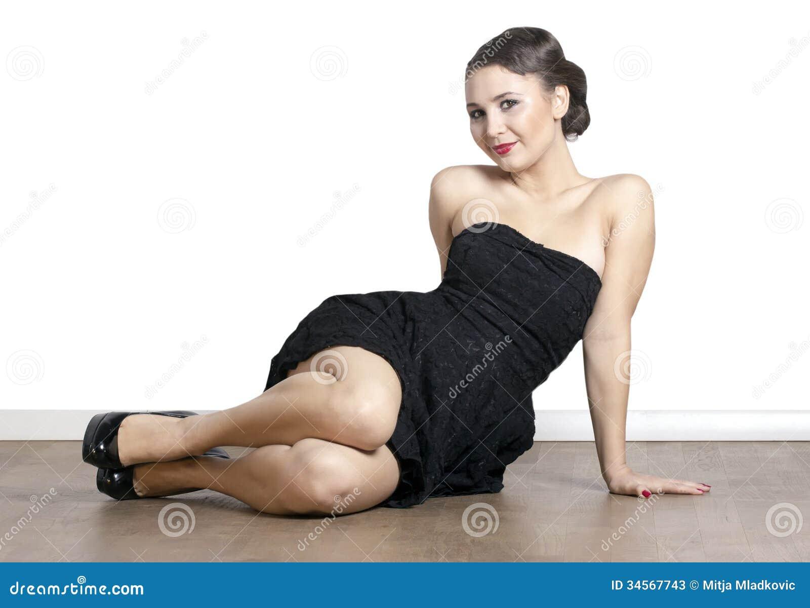 Woman Sitting On The Floor Stock Photos - Image: 34567743
